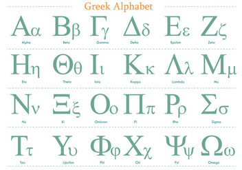 Green Greek Alphabet Vector Pack - Free vector #317613