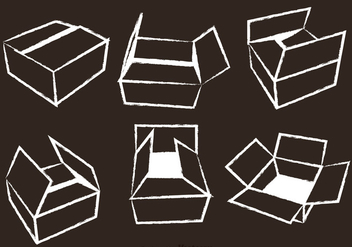 Cardboard Box Chalk Draw Vector - бесплатный vector #317623