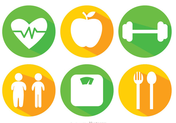 Diet Long Shadow Icons - vector gratuit #317653
