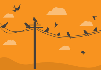FREE BIRDS ON A WIRE VECTOR - vector gratuit #317693