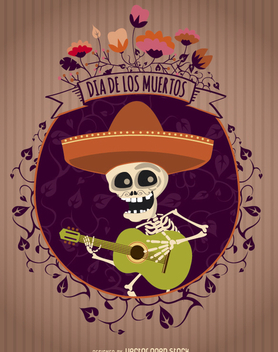 Day of the Dead Mexican Mariachi - Free vector #317723