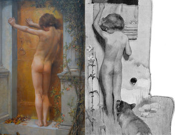 Comparison - left, Anna Lea Merritt (1844-1930) - Love Locked Out (1889), Tate Britain, June 2012 - right, Cecil Aldin (1870-1935) - Mowgli Felt a Touch on his Foot (illustration from Letting In the Jungle by Rudyard Kipling, 1894) - image gratuit #317773