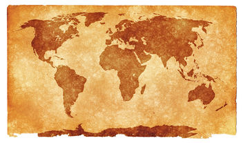 World Grunge Map - Sepia - Free image #323613