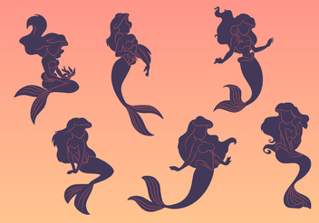 Mermaid silhouette vectors - бесплатный vector #326573