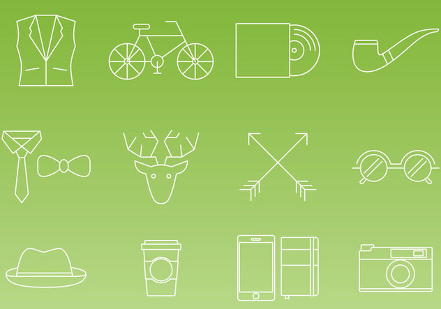 Hipster Thin Line Icon Vectors - бесплатный vector #326593