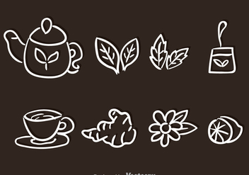 Tea Set Hand Drawn Vectors - Free vector #326713
