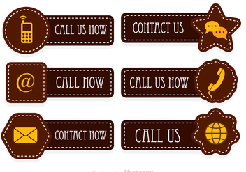 Stitched Call Us Now Vector Icons - бесплатный vector #326743