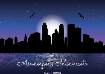 Minneapolis Night Skyline Illustration - бесплатный vector #327003