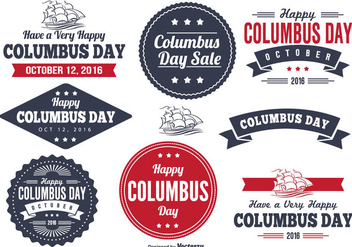 Columbus Day Label Set - vector #327073 gratis