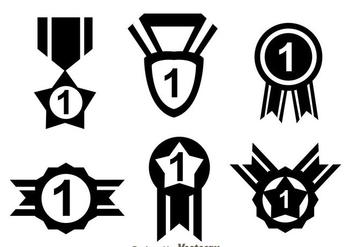 First Place Ribbon Black Icons - Free vector #327103
