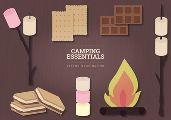 Camping Essentials Vector Illustration - vector gratuit #327173