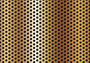 Free Circle Perforated Golden Metal Vector - Free vector #327563