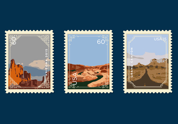 Vector Grand Canyon Postage Stamp - бесплатный vector #327593