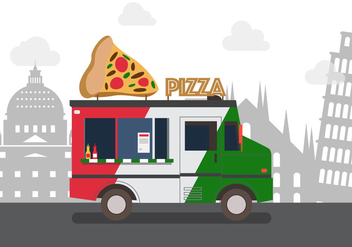 Vector Pizza Truck - Free vector #327623