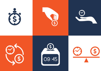 Vector Time is Money Icon Set - vector gratuit #327643