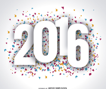 Happy Year 2016 confetti wallpaper - Kostenloses vector #327713