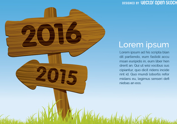 2015 out 2016 in wooden sign concept - Free vector #328033