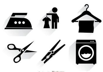 Laundry Black Icons - Free vector #328773