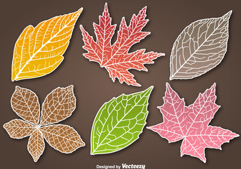 Autumn leaves sticker vectors - Free vector #328813
