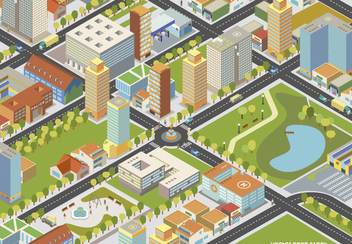 Isometric cityscape - Easy Edit - Free vector #328973