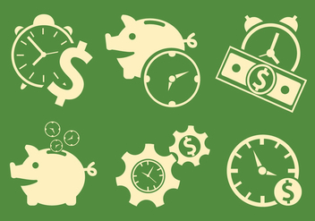 Vector Symbols of Time and Money - бесплатный vector #329393