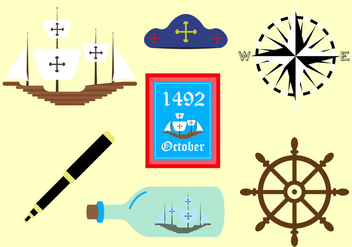 Vector Symbols of Columbus Day - Free vector #329403