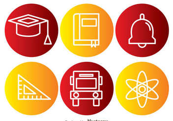 School Element Circle Icons - vector gratuit #329493