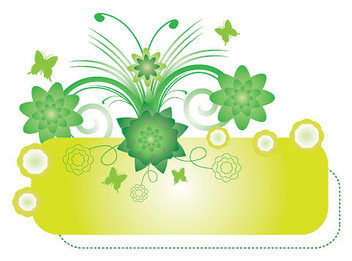 Green Floral Swirls Banner - Free vector #329623