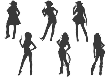 Cowgirl silhouette vectors - Free vector #329693