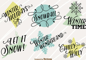 Merry christmas icons with happy winter texts - бесплатный vector #329703