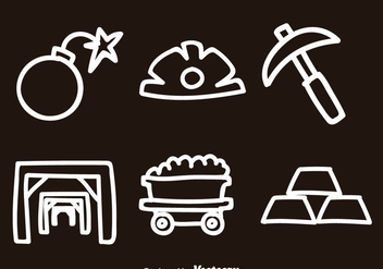 Gold Mine Doodle Icon Vectors - Free vector #329753