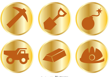 Gold Mine Items Icons - Free vector #329763