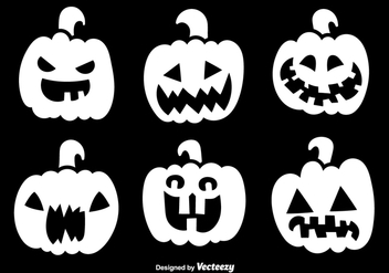 Halloween white pumpkins - Free vector #329793