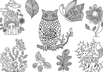 Free Enchanted Forest Coloring Vectors - Free vector #330023