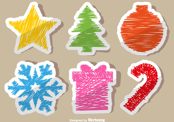 Christmas doodle stickers - Kostenloses vector #330163