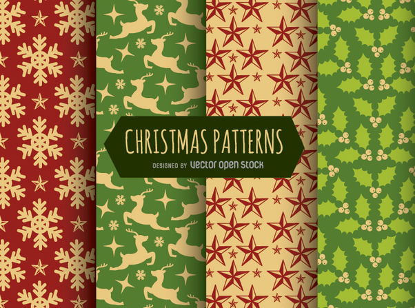 4 Christmas seamless patterns - Free vector #330203
