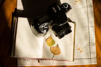 Nikon f60 with book and autumn yellow leaves - image gratuit #330393