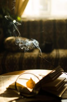 Autumn yellow leaves through a magnifying glass and incense sticks and book - бесплатный image #330403