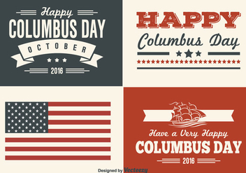 Columbus Day Retro Style Label Set - vector gratuit #330483