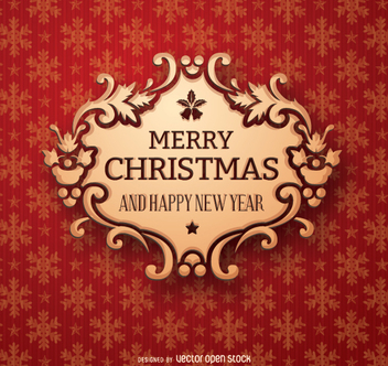 Christmas golden badge - Free vector #330833