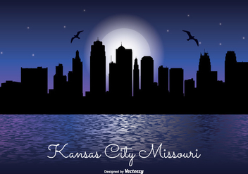 Kansas City Night Skyline - бесплатный vector #331193