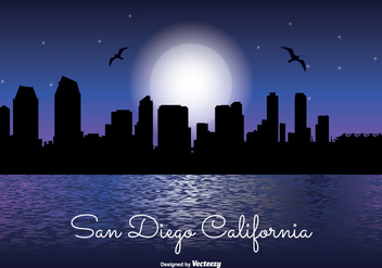 San Diego Night Skyline - бесплатный vector #331433
