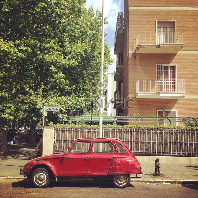 Old red car near the house - Free image #331943