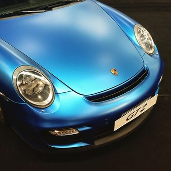 Close-up of blue porsche - image gratuit #332233