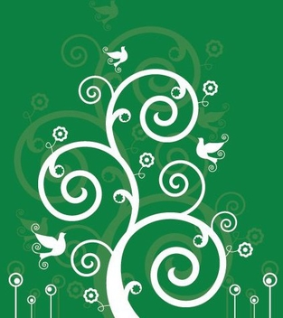 White Swirls Birds Green Background - vector gratuit #332483