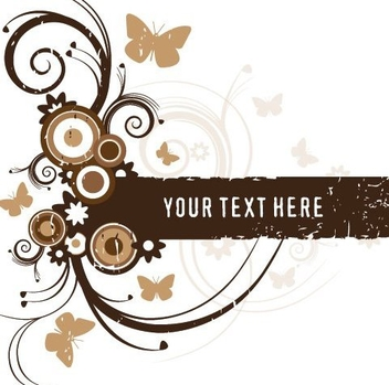 Brown Floral Frame Grungy Banner - Free vector #332503