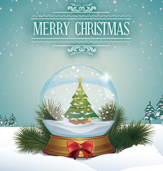 Snow globe with Christmas tree - vector gratuit #332713