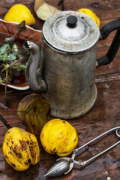 Still life of metal teapot and yellow pears - Free image #332773
