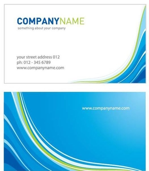 Two Parts Waves Business Card - Free vector #333523