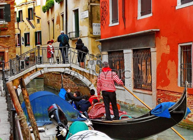 Gondolas on canal in Venice - Free image #333673
